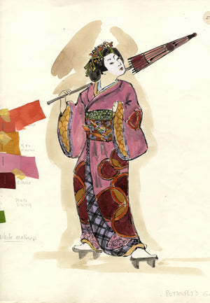 MADAME BUTTERFLY 'Butterfly Friend' Costume sketch by Florence Klotz