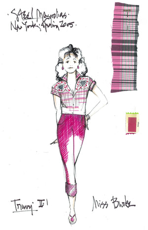 Delta Burke as Truvy, STEEL MAGNOLIAS, Costume sketch by David Murin