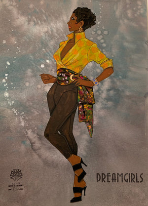 Dreamgirls Female Ensemble Original Costume Sketch by Gregg Barnes