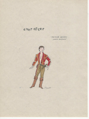 EVER AFTER - 'Prince Henry' (Red Jacket) Original costume sketch by Jess Goldstein
