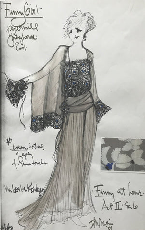 Leslie Kritzer in FUNNY GIRL, Costume Sketch by David Murin, 'Fanny at Home Dress'