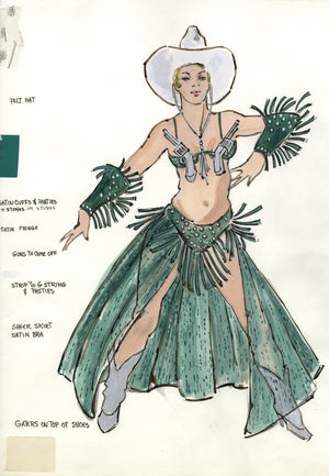 """GRIND"" THE MUSICAL 'Cowgirl' Costume sketch BY FLORENCE KLOTZ"
