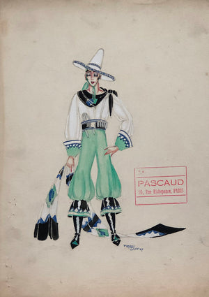 Freddy Wittop Original 1930's Costume Sketch for Paris Music Hall
