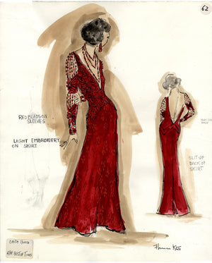 "CHITA RIVERA IN ""JERRY'S GIRLS"" Signed Original Costume Sketch by Florence Klotz"