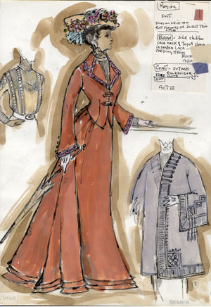 ELIZABETH TAYLOR in  LITTLE FOXES Costume sketch BY FLORENCE KLOTZ