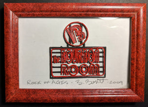 "ROCK OF AGES  Broadway Model of ""Bourbon Room"" Sign by Beowulf Boritt"