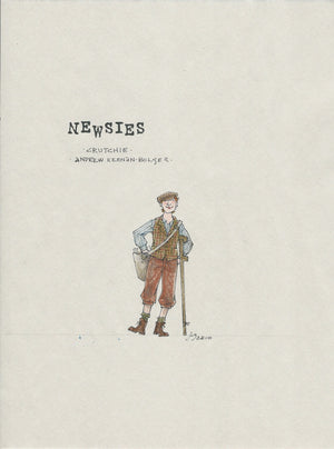"NEWSIES - ""Crutchie"" Original Costume Sketch  by Jess Goldstein"