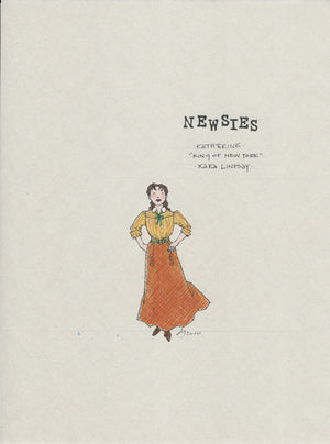 "NEWSIES - ""Katherine"" Original Costume sketch by Jess Goldstein"