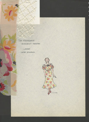 THE RAINMAKER - Jayne Atkinson as 'Lizzie' (Flowered Dress) costume sketch by Jess Goldstein