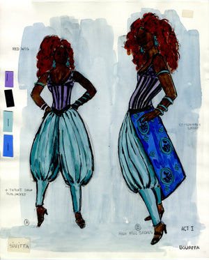 """ROZA"" THE MUSICAL - 'Madame Bouaffa' Costume Sketch by FLORENCE KLOTZ"