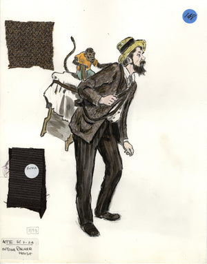 SHOW BOAT - 'Man with Monkey' - Costume Sketch by FLORENCE KLOTZ