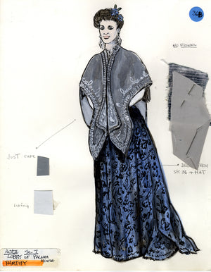 ELAINE STRITCH AS 'PARTHY' IN SHOW BOAT - Costume sketch by FLORENCE KLOTZ