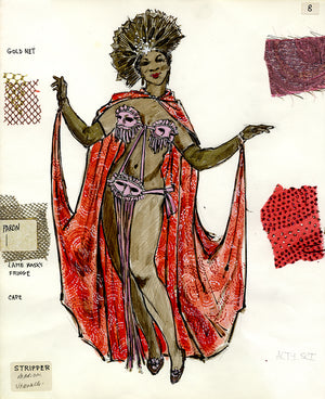 """GRIND"" THE MUSICAL 'Stripper' Costume sketch by FLORENCE KLOTZ"