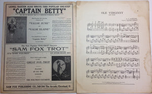 """Ole Virginny' Vintage Sheet Music"