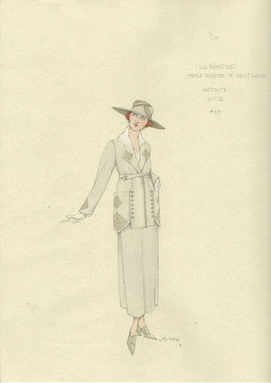 LA RONDINE - Modiste Act III, Costume Sketch by Jess Goldstein