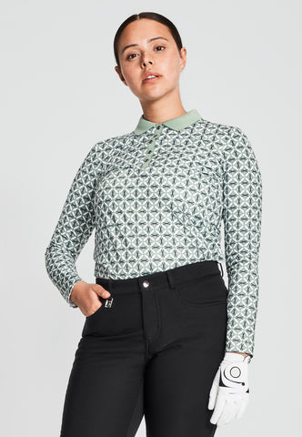 Green patterned golf top