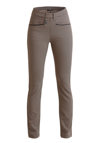 ROHNISCH Smooth Pull On Trousers Beige / Black Check