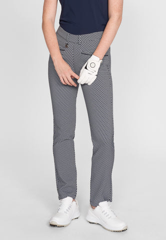 ROHNISCH Smooth Pull On Trousers Navy / Fog Check