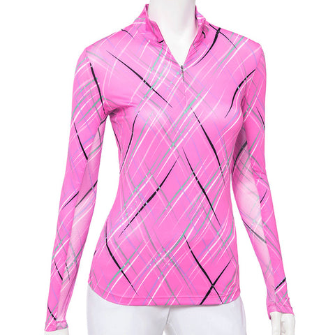 EP NEW YORK Floating Plaid Long Sleeve Polo 5046 Pink