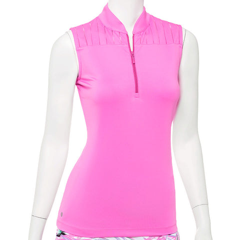 EP NEW YORK Mandarin Zip Collar Polo 5727 Pink