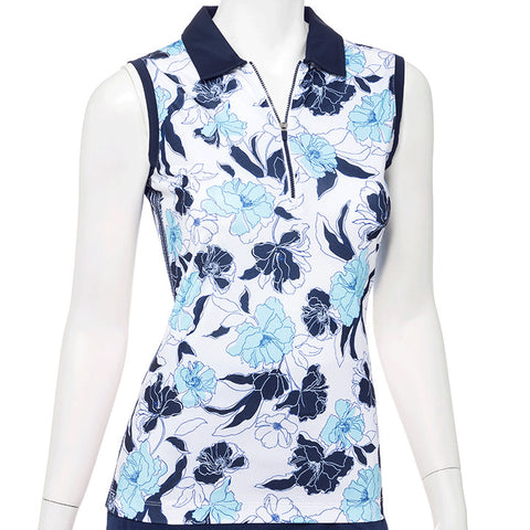 EP NEW YORK Sleeveless Polo 5750 Blue Flower