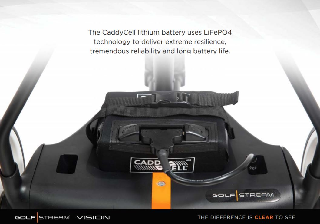GOLF STREAM Vision Electric Golf Trolley + 18 Hole Battery + FREE GOLF BAG
