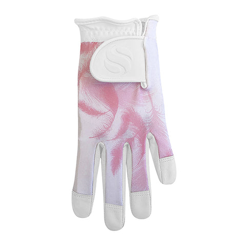 SURPRIZE SHOP Leather Palm Glove Pink Feather