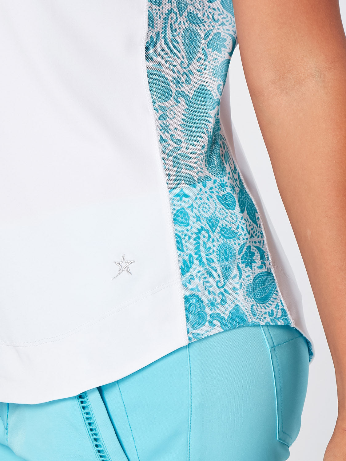 SWING OUT SISTER Clio Sleeveless Polo Aqua Paisley