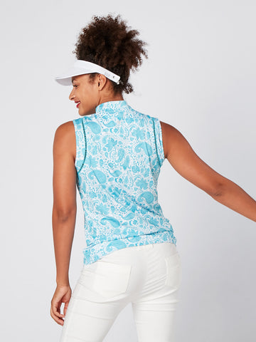 SWING OUT SISTER Iris Sleeveless Polo Aqua Paisley