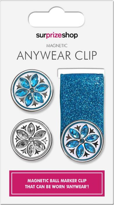 SURPRIZE SHOP Anywhere Magnetic Ball Marker Clip Aqua Glitter