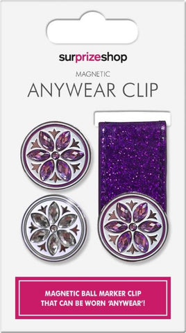 SURPRIZE SHOP Anywhere Magnetic Ball Marker Clip Purple Glitter