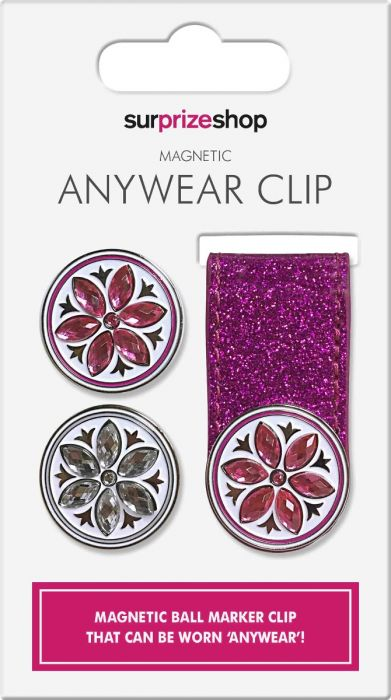 SURPRIZE SHOP Anywhere Magnetic Ball Marker Clip Pink Glitter