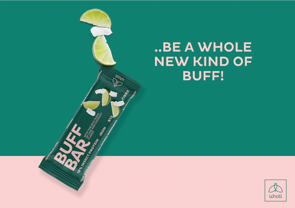 Buff bar lime and coconut natural protein bar made from insects