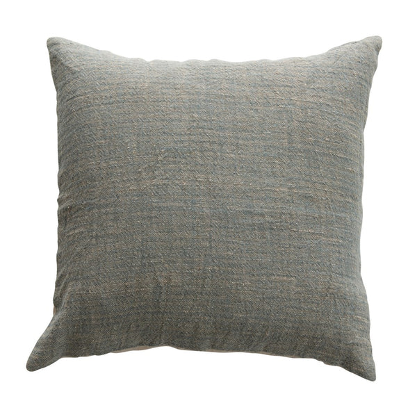Blue Cotton and Linen Pillow