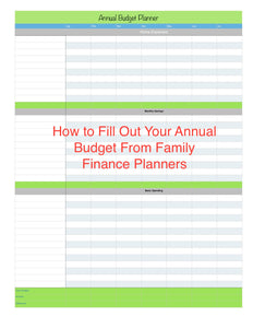 Filling Out Your Annual Budget