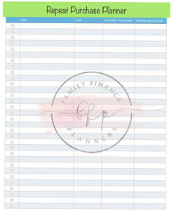 Repeat Purchase Planner