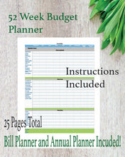 52 Week Budget Printable with Annual Budget, Quarterly Checkup, and Bill Planner