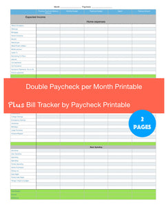 Two Paychecks a Month Budget Printout