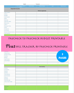 Paycheck to Paycheck Printable Planner