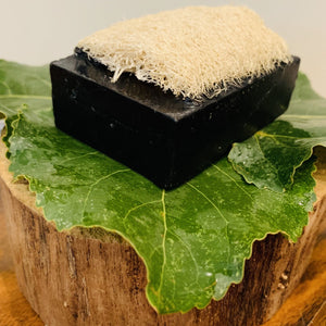 """EUCALYPTUS"" Handmade Charcoal & Kaolin Clay Therapy Moisturizing Luffa Soap,  4oz Bar"