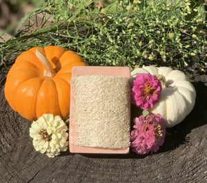 """Pumpkin Spice"" Handmade Goat's Milk Moisturizing Luffa Soap 4oz Bar"