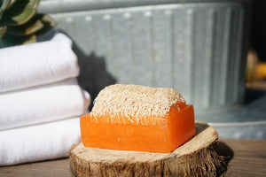 """ORANGE PEEL CYBILLA"" Handmade Moisturizing Luffa Soap 4oz Bar"
