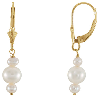 Freshwater Cultured Pearl Triplet Earrings