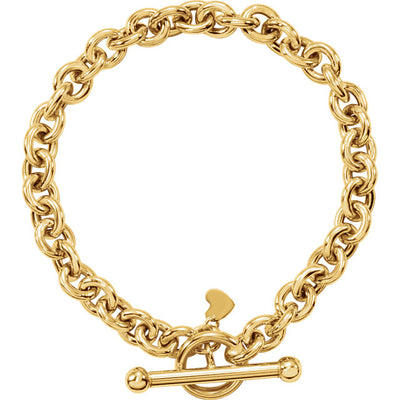 Gold Rolo Links w/ Small Heart Dangle - amorier