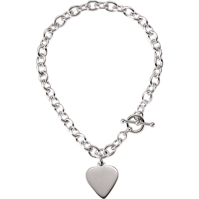 Links and Toggle Bracelet with Heart - amorier
