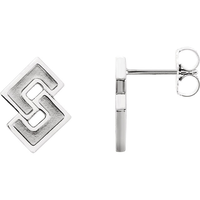Art Deco Angled Earrings in Sterling Silver - amorier