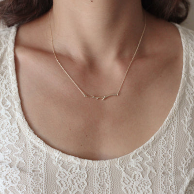Branch Bar Necklace in Sterling Silver