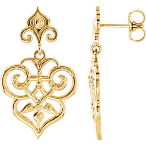 Fleur De Lis Dangle Earrings - amorier