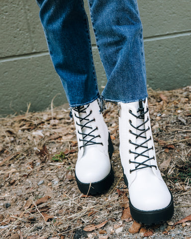 Never Say Never Combat Boot - White