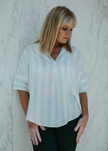 Never Tired Stripe Mint Top